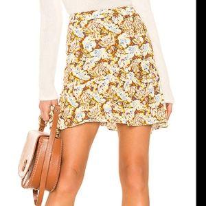 Free People Nadia Yellow Floral Ruffled Mini Skirt